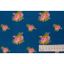 Flowers - Cotton Sateen - Blue - 100% cotton