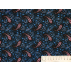 Ornaments, Abstract - Cotton plain - Black, Blue - 100% cotton