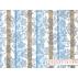 Květiny, Pruhy - Bavlněný satén - Bílá, Modrá - 100% bavlna