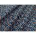 Květiny - Bavlněné plátno - Černá, Modrá - 100% bavlna