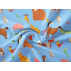 Animals, Children's - Cotton plain - Blue, Brown - 100% cotton