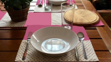 Table laid with our cotton fabrics