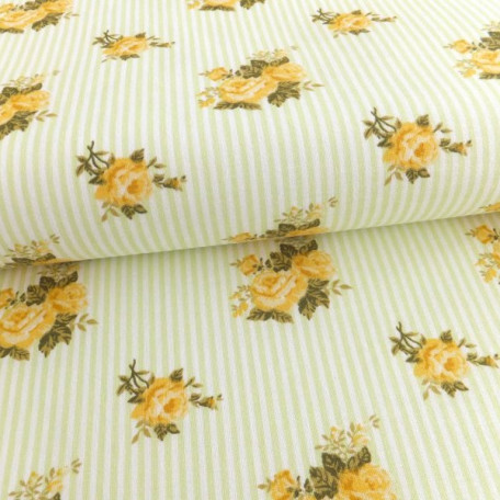 Flowers - Cotton plain - Yellow - 100% cotton