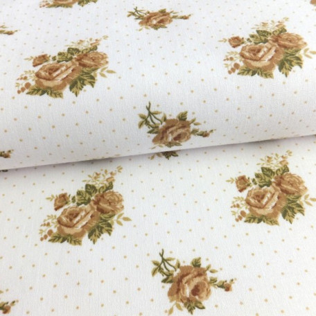 Flowers - Cotton plain - Brown - 100% cotton