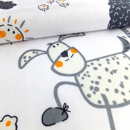 Dětské - Bavlněné plátno - Bílá, Šedá - 100% bavlna