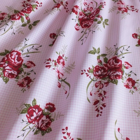 Checks, Flowers - Cotton Sateen - Pink - 100% cotton