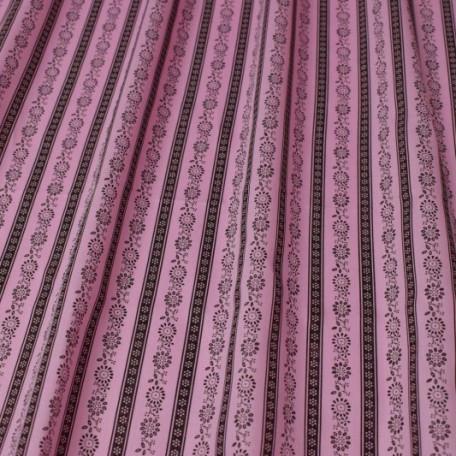 Ornamenty - Bavlněný satén - Růžová - 100% bavlna