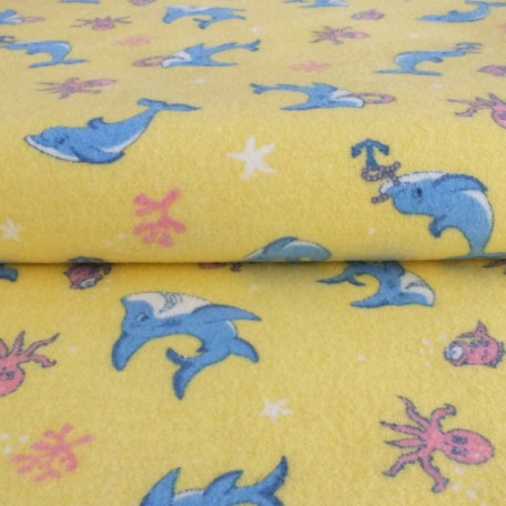 Children's, Animals - Flannel - double sided - Yellow - 100% cotton