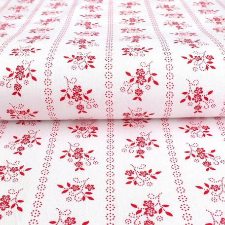 Flowers - Cotton Sateen - Red - 100% cotton