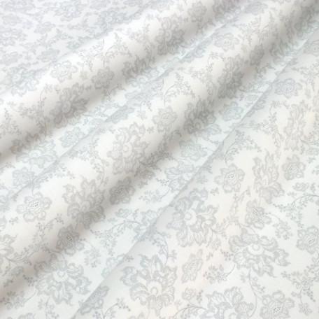 Květiny - Bavlněné plátno - Bílá, Šedá - 100% bavlna