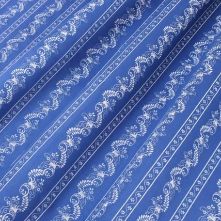 Ornamenty, Pruhy - Bavlněný satén - Modrá - 100% bavlna