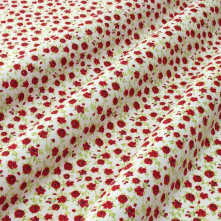 Flowers - Cotton Sateen - White, Red - 100% cotton