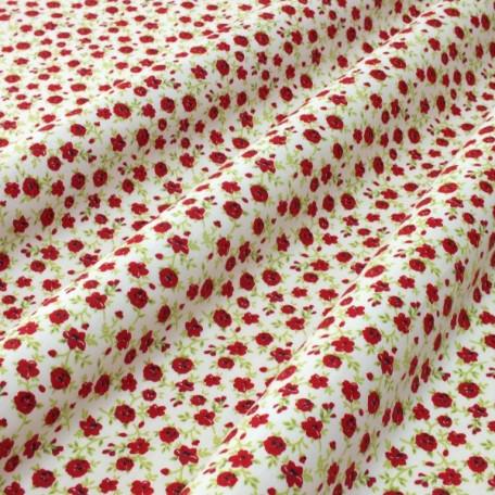 Květiny - Bavlněný satén - Bílá, Červená - 100% bavlna