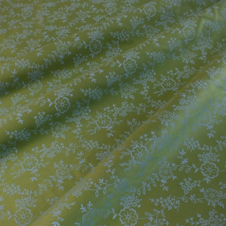 Flowers - Cotton Sateen - Green - 100% cotton