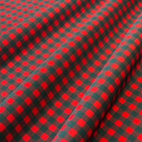 Kostky - Bavlněné plátno - Červená, Černá - 100% bavlna