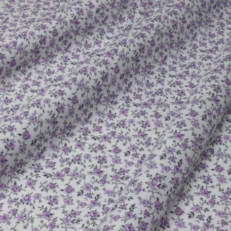 Flowers - Cotton Sateen - White, Violet - 100% cotton