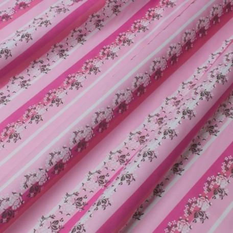 Květiny, Pruhy - Bavlněný satén - Růžová - 100% bavlna