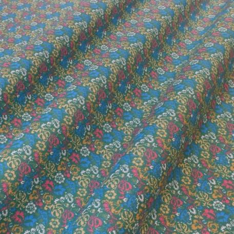 Flowers - Cotton plain - Green, Yellow - 100% cotton