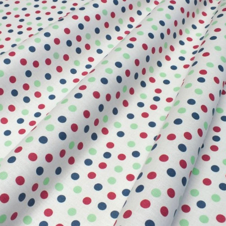 Dots - Cotton plain - Green, Burgundy - 100% cotton