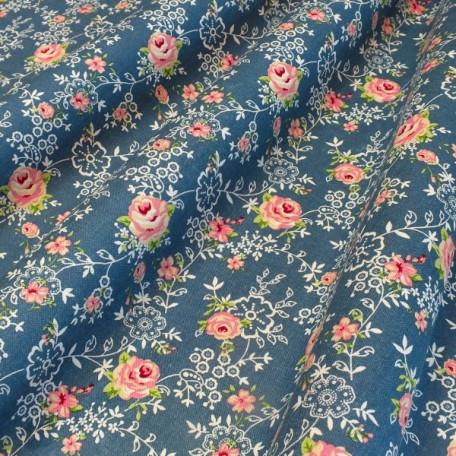 Flowers - Cotton plain - Blue - 100% cotton