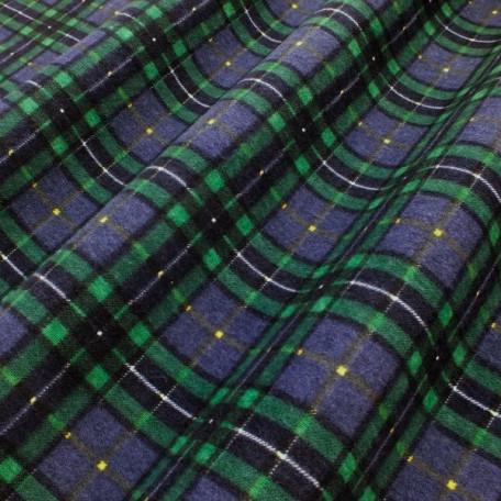 Kostky - Bavlněný satén - Zelená, Modrá - 100% bavlna