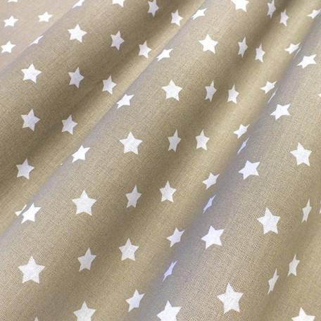 Hvězdy - Bavlněné plátno - Béžová - 100% bavlna