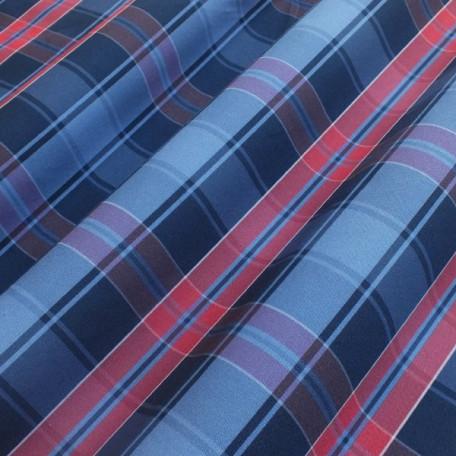 Kostky - Bavlněný popelín - Modrá, Červená - 100% bavlna