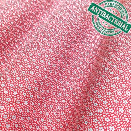 Květiny - Bavlněné plátno - Červená - 100% bavlna