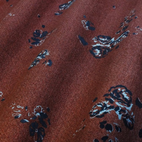 Květiny - Bavlněný satén - Hnědá - 100% bavlna