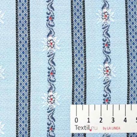 Květiny - Žakár - Modrá, Červená - 100% bavlna