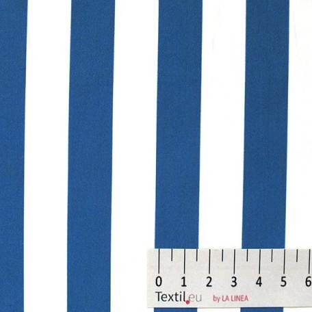 Pruhy - Bavlněný popelín - Modrá, Bílá - 100% bavlna