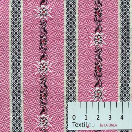 Květiny - Žakár - Růžová - 100% bavlna
