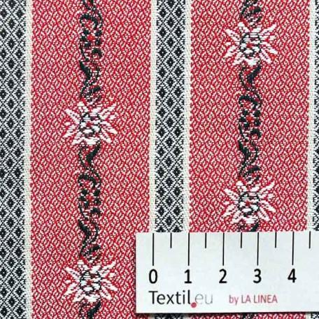 Květiny - Žakár - Červená - 100% bavlna