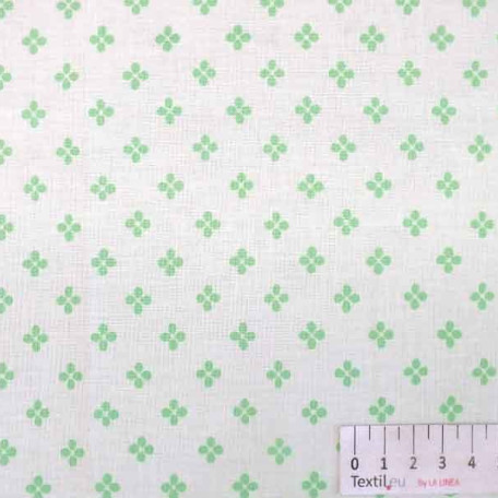 Květiny - Bavlněné plátno - Zelená - 100% bavlna
