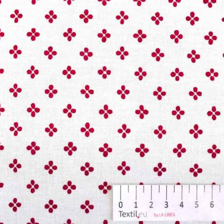 Květiny - Bavlněné plátno - Bílá, Červená - 100% bavlna