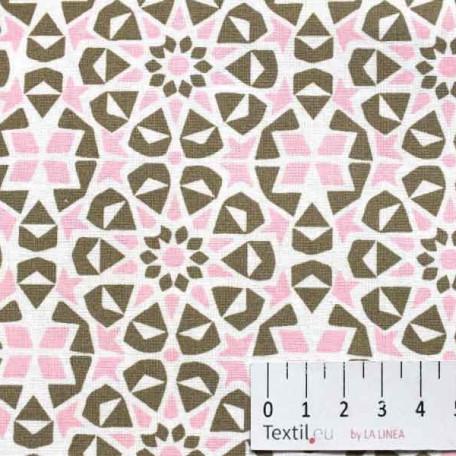 Ornamenty, Dětské - Bavlněné plátno - Růžová, Hnědá - 100% bavlna