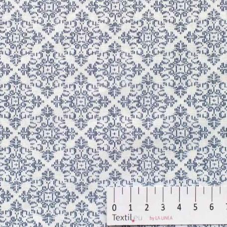 Ornamenty - Bavlněné plátno - Modrá - 100% bavlna