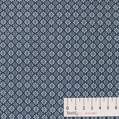 Květiny - Bavlněné plátno - Modrá, Šedá - 100% bavlna