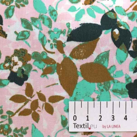 Květiny - Bavlněný satén - Růžová, Zelená - 100% bavlna