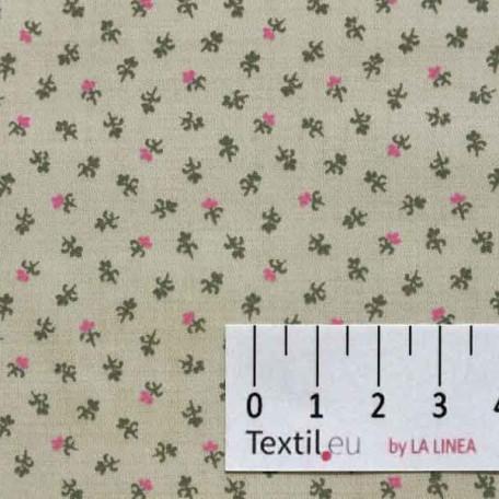 Květiny - Bavlněný satén - Béžová - 100% bavlna