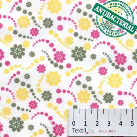 Květiny, Dětské - Bavlněné plátno - Žlutá - Antibakteriální