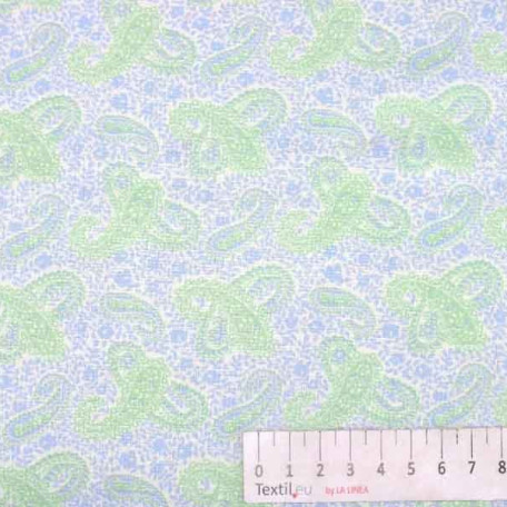 Ornamenty - Bavlněné plátno - Modrá, Zelená - 100% bavlna