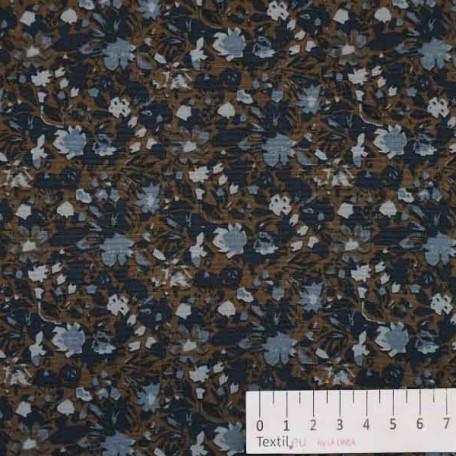 Květiny - Bavlněné plátno - Hnědá - 100% bavlna