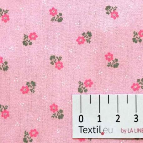 Květiny - Bavlněný satén - Růžová - 100% bavlna