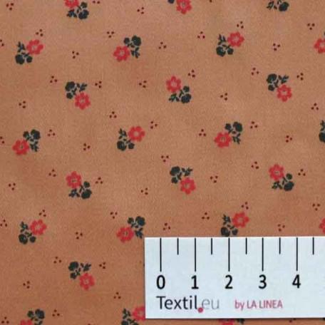 Květiny - Bavlněný satén - Oranžová - 100% bavlna