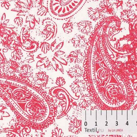 Ornamenty - Lněné plátno - Bílá, Červená - 100% len