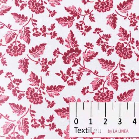 Květiny - Bavlněné plátno - Bílá, Vínová - 100% bavlna