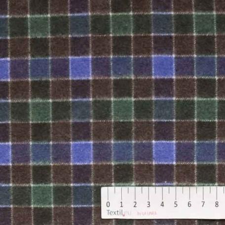 Kostky - Flanel - oboustranný - Zelená, Hnědá - 100% bavlna