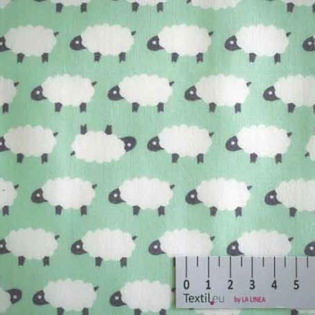 Dětské, Zvířata - Bavlněné plátno - Zelená - 100% bavlna