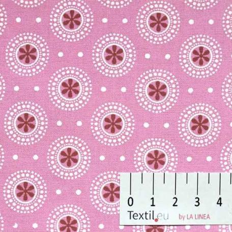 Ornamenty, Puntíky - Bavlněné plátno - Růžová, Vínová - 100% bavlna
